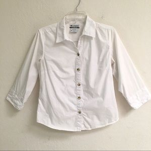 Columbia white button front shirt M